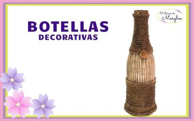 BOTELLA DE CRISTAL DECORADA con PAPEL