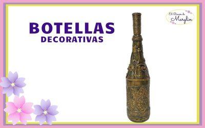 BOTELLA DE CRISTAL DECORADA con varias tecnicas